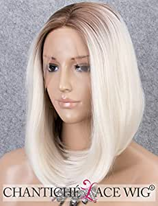 Chantiche Platinum Blonde Bob Lace Front Wig With Brown
