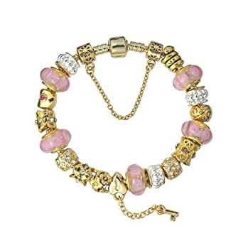 Fashion Beautiful European Style Blue Murano Glass Beads Golden I LOVE YOU heart Charm Beaded Gold Plated Bracelet (7.5 inch (19cm), BT10)