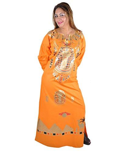 Pharao Und Cleopatra Kostüm - Cleopatra Pharao Kostüm Damen-Kaftan Faschingskostüm Karnevalskostüm Ägypterin Farbe: orange (48-50 (XL))