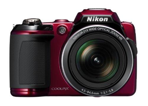 Nikon Coolpix L120 Digitalkamera (14 Megapixel, 21-fach opt. Zoom, 7,5 cm (3 Zoll) Display, HD Video, bildstabilisiert) rot (Coolpix L120)
