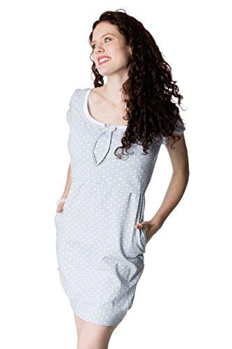 GoFutureWithLove - Robe spécial grossesse - Manches Courtes - Femme Hellgrau mit weißen Herzen und weißen Bündchen