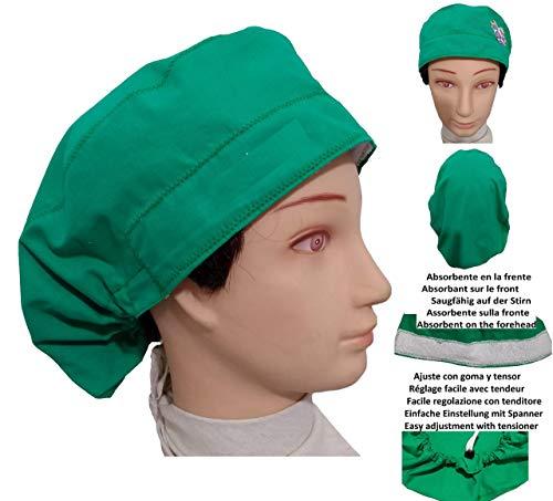OP-Haube GRÜN für langes Haar, Chirurgie, Zahnarzt, Tierarzt, Küche, Handtuch vorne, verstellbar mit Spannrolle - Medizinische Einheitliche