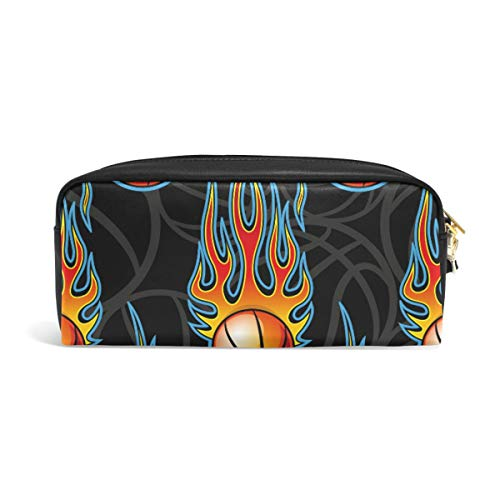 Basketball Hot Rod Flame Bleistifttasche für Teenager, Stiftetasche, Reißverschluss, Mädchen, Damen, College, Schule, Schreibzubehör, Leder PU mit Fächern -