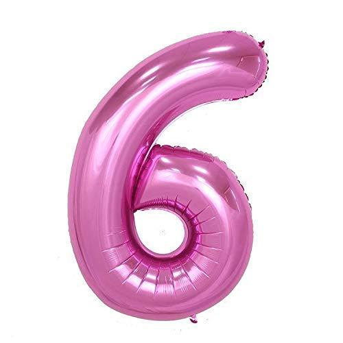 ShopVip Birthday Luftballons - Nummer 6 - Dekoration Geburtstag Hochzeit Riese 80 CM - Riesige Nummer Ballon rosa - Anzahl Ballon 6 Jahre - Nummer 6 - 60 Jahre (Rosa Ballon 6)