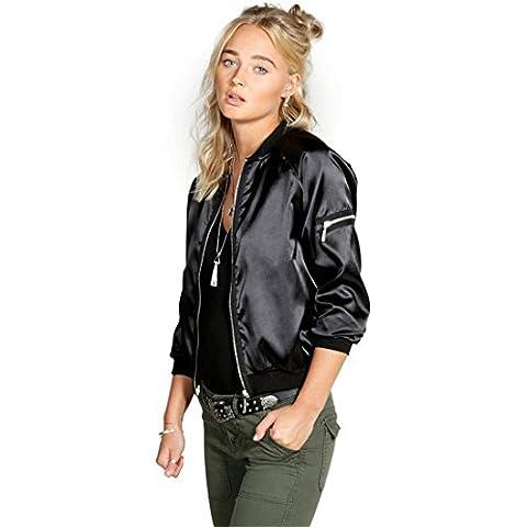 Xinantime Moda Donna Cappotto Casual Zipper Vintage Blazer Outwear Giacca (nero, S)