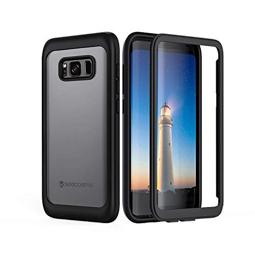 seacosmo Galaxy S8 Plus Cover, 360 Gradi Rugged Custodia Samsung S8 Plus Antiurto Trasparente Case con Protezione Integrata dello Schermo, Nero