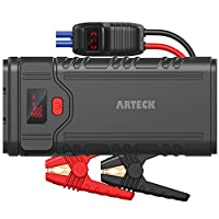 Arteck 2000A Peak Portable Car Jump Starter (Up to 9.0L Gas or 8.0L Diesel Engine) QDSP Auto 12V Battery Pack Booster and QC3.0 External Battery Charger for Automotive, Motorcycle, Boat, Smart Phone