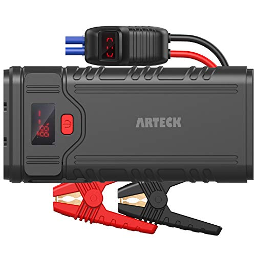 Arteck - Avviatore di emergenza portatile per auto con picco di 2000 A (fino a 9,0 l di gas o 8,0 l di motori diesel) QDSP da 12 V e caricabatterie esterno QC3.0 per auto, moto, barche, smartpho