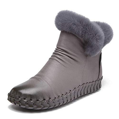 Frauen Handgefertigte Warme Ankle Schneeschuhe Winter Innen ReißVerschluss Split Leder Runde Zehe Equestrian Rom Schuhe - Fabelhafte Leder-stiefelette