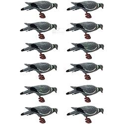 Leurre en forme de pigeon - Lot de 1, 6, 12- Pattes et pinces incluses - Corps floqué
