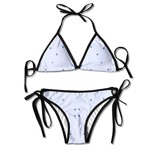 ababb9519ad Womens Sexy Bikini Sets Bathing Swimsuits Tie Back Blueberry Hearts Fabric  Flower Print Black