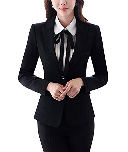 SK Studio Damen Business Anzug Set Langarm Slim Fit Blazer Reverskragen Karriere Hosenanzuge Schwarz 32 Tag M