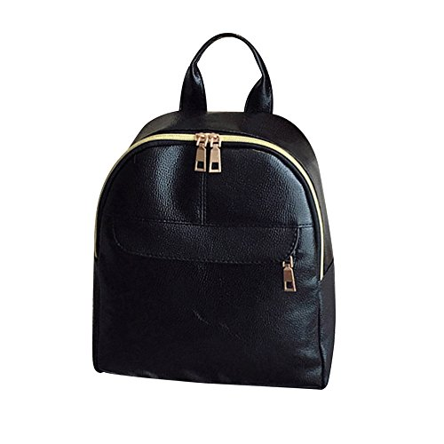 Mambain borsa borbonese moda donna in pelle solida borsa zaino borsa di viaggio nero (b)