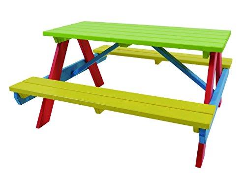 hillhout 8711518635258Tisch Kinder, Mehrfarbig, 120x 80x 10cm (Kinder Holz Picknick-tisch)