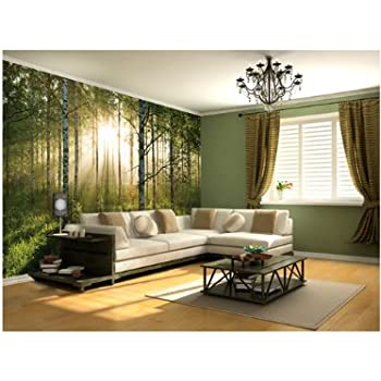 1wall stunning green forest green trees and sunrise wallpaper wall mural
