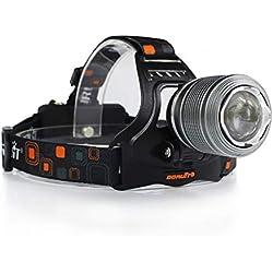 HUANGLP Lampe Frontale, T6 Zoom télescopique Flash à la lumière Lampe avec IPX4 étanche et Recharge USB pour la pêche, Le Camping,Pêche, Chasse,Cyclisme, Activités de Plein Air, Lampe de Poche, Phare