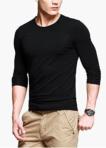 KUEGOUHerren T-Shirt Black With Long Sleeve