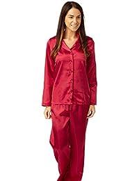 Indigo Sky Ladies Satin Long Sleeves Cherry Red Pyjamas Size 10 26cdb5101