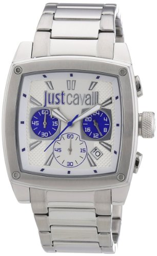 Just Cavalli Hombres de pulpa Cronógrafo Dial Plateado Reloj