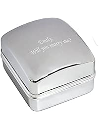 Will You Marry Me Chrome Ring Case / Box - Engraved