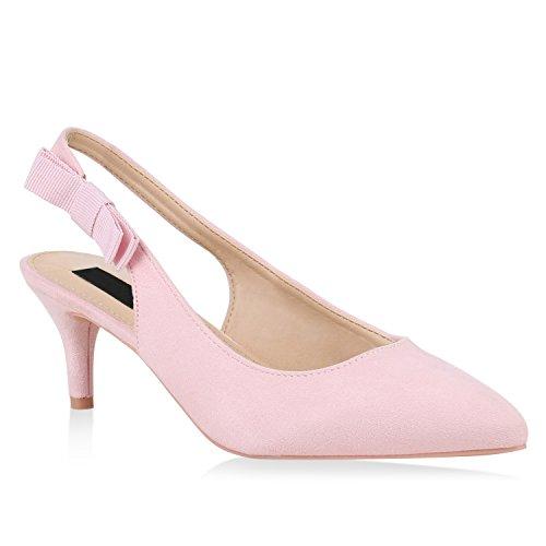 Damen Pumps Slingpumps Veloursleder-Optik Stiletto Party Mid Heels 153775 Rosa 39 Flandell Rosa Stiletto Heel
