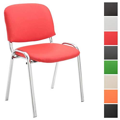 Clp sedia visitatore ken c imbottita | sedia attesa in similpelle e metallo cromato | sedia impilabile portata max 120 kg | sedia classica riunioni con telaio 4 gambe | sedia conferenza rosso