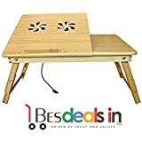Three Secondz Multipurpose Wooden Laptop Table With Side Drawer Foldable Study Table With Cooling Fans