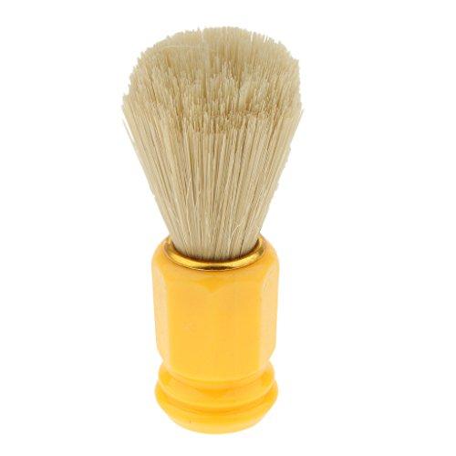 Baoblaze Blaireau Cheveux Luxe Brosse pour Hommes Poignée Outil en Plastique Salon Coiffeur - Orange