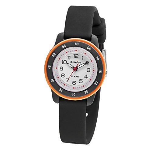 SINAR Kinder-Armbanduhr Junge Analog Quarz Leuchtzeiger 10 bar Silikonband XB-22-1