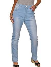 ICE (1547-1) Jeans Droit Taille Haute Extensible Bleu Pâle Délavé taille 42 à 52