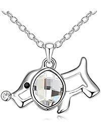 Déstockage-MARENJA Cristal-Collier Femme-Chien-Plaqué Or Blanc-Cristal Autrichien Blanc-40+5cm