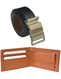 Sunshopping men's black auto lock buckle belt with Synthetic leather wallet combo