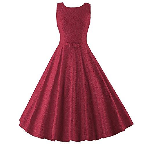 LUOUSE Damen Audrey Hepburn 50s Retro vintage Bubble Skirt Rockabilly Swing Evening kleid Dress,WineRed,S (Skirt Bubble)