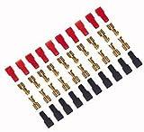 Faston - Terminal de contacto hembra 6,3 x 0,5 cubreterminal con capucha en colores rojo y negro