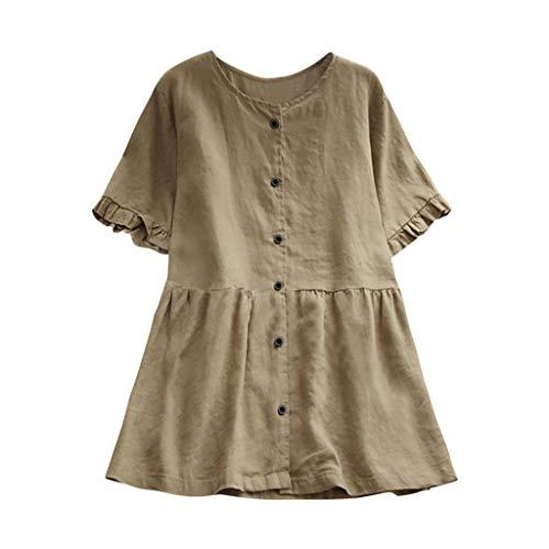 RYTEJFES T-Shirt Damen Tumblr Große Größen beiläufige lose Leinen Plus Größe Rüsche Feste Knopf Tunika Hemd Bluse Tops Volltonfarbe Rundhalsausschnitt Lose Shirt (Arabische Kostüm Plus Größe)
