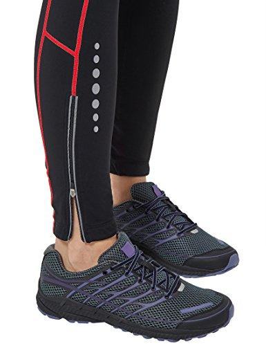 Ultrasport Damen Laufhose gefüttert mit Quick-Dry-Funktion lang, black red, M, 380100000210 - 6