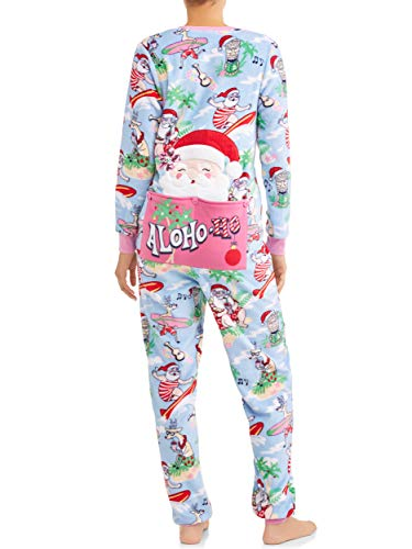 Secret Treasures Damen Aloho-ho Santa Beach Drop Seat Christmas Fleece Union Suit Pyjama - Blau - Medium -