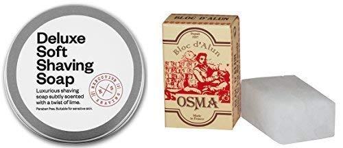 Executive Shaving 100g Deluxe Doux Rasage Savon Citron Parfum et 75g Osma Alun Bloc