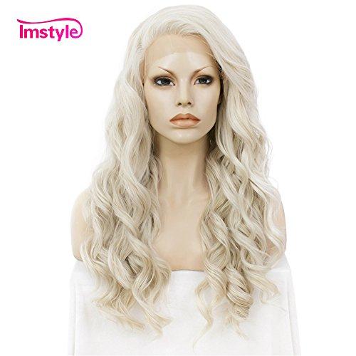 Imstyle Perücke für Damen, mit langem seidigen glatten Kunsthaar, hitzebeständig, Spitzenfront, für ()