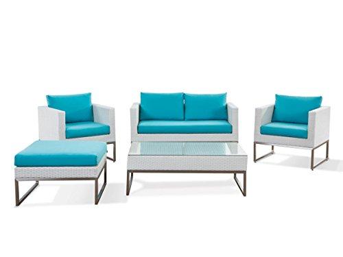 Rattan Gartenmöbel Cindy Farbe weiß + türkis 14 teiliges Komplett Set Rattanlounge Sitzgruppe für Garten Couch + Sessel + Tisch Luxus Rattanmöbel für Balkon Terrasse