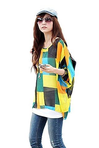 Femme T-shirt Bohème Hhippie Tops en mousseline de soie Batwing Manches 3/4 Tops Imprime en tulle Chemisier - 01