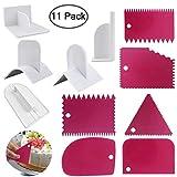 Rocita 11-teiliges Tortenschaber Set Kuchenkante Dekorieren Schaber, Ausstechformen Fondant Glätter Werkzeug mit Kamm und Zuckerguss Glätter