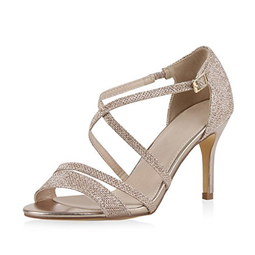Damen Sandaletten Riemchen High Heels Stilettos Glitzer Metallic Party Hochzeit Damen Sandaletten Gold 36 Jennika Stiletto High Heel Strappy Sandal