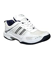 Zigaro MenS White Navy Badminton Shoe-8