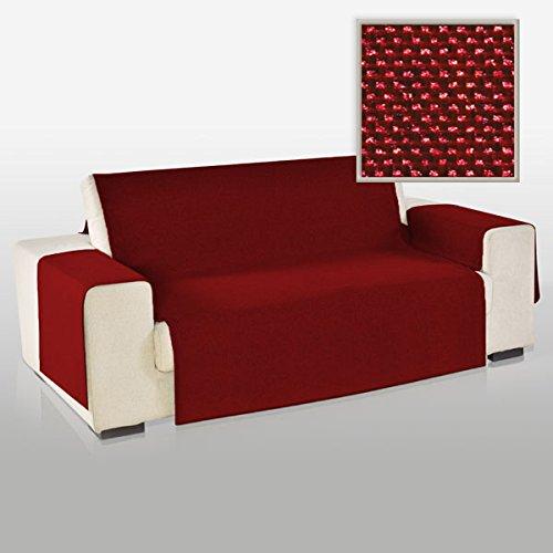 La biancheria di casa elizabeth copri poltrona divano antiscivolo (3 posti, bordeaux)