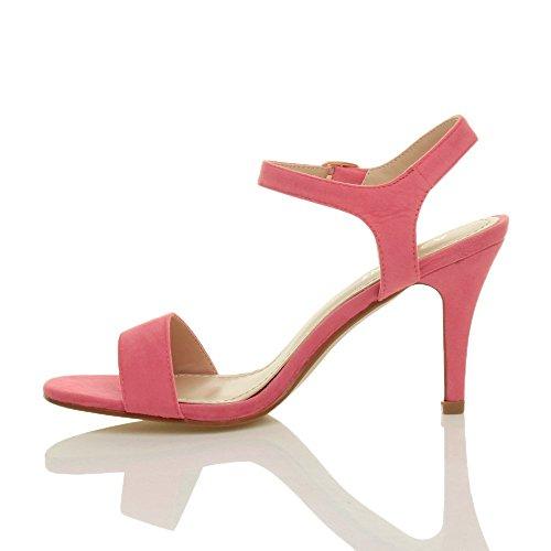 Femmes haute talon boucle fête élégant à lanières sandales chaussures pointure Pastel Rose Corail Daim
