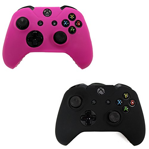 HDE 2 Pack Protective Silicone Gel Rubber Grip Skin Cover for Xbox One Wireless Gaming Controllers (Black + Pink)
