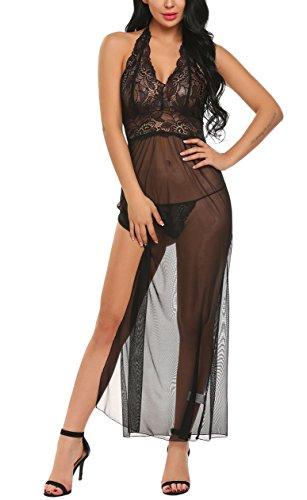Cocktailkleid Kleid Damen Spitzen Reizwäsche Transparent Nachtkleid Dessous Set mit G-Schnur