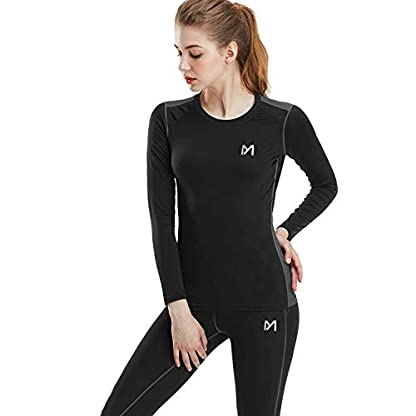 MEETYOO Women's Thermal Underwear Set, Ultra Soft Base Layer for Ladies, Fleece Lined Long Johns Sport Top&Leggings Set for Running Skiing Cycling Workout 1