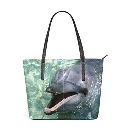 DEYYA Damen Bunte Tropische Fische Ozean Tauchen Blasen Große PU-Leder-Schulter-Handtasche für Fr. Einheitsgröße Mehrfarbig -